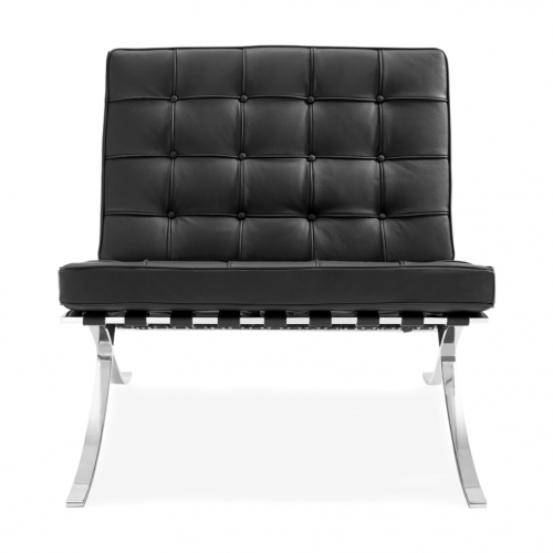 Barcelona Style Lounge Chair, Black