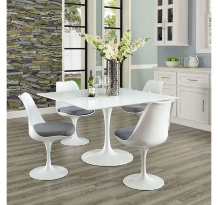 """Tulip 47"""" Square Wood Top Dining Table"""