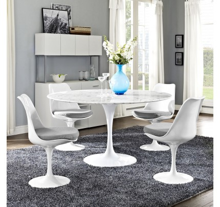 "Tulip 54"" Round Marble Dining Table"