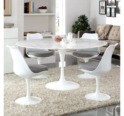 "Tulip 60"" Round Marble Dining Table"