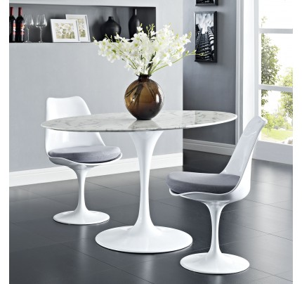 """Tulip 54"""" Oval Marble Dining Table"""