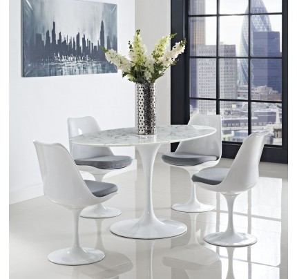 """Tulip 60"""" Oval Marble Dining Table"""