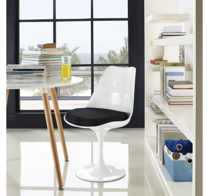 Tulip Dining Chair With Fabric Seat - Black