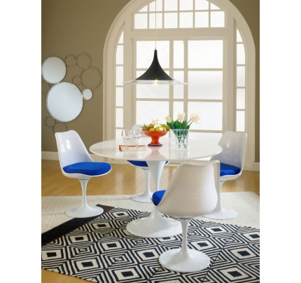 Tulip Dining Chair With Fabric Seat - Blue