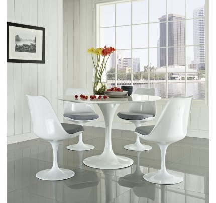 Tulip Dining Chair With Fabric Seat - Gray