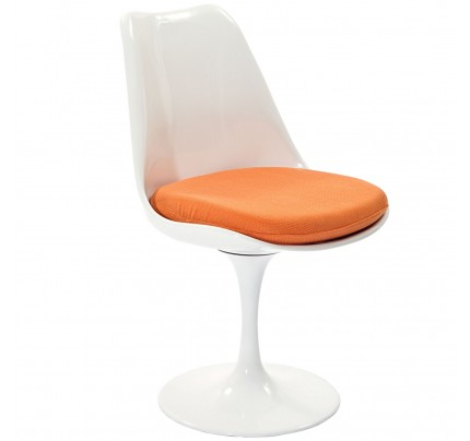 Tulip Dining Chair With Fabric Seat - Orange