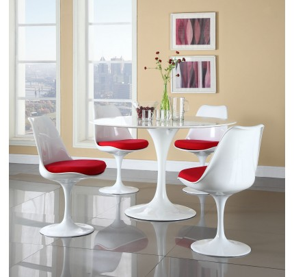 Tulip Dining Chair With Fabric Seat - Red