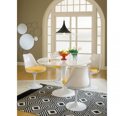 Tulip Dining Chair With Fabric Seat - Yellow