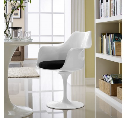Tulip Armchair With Fabric Seat - Black