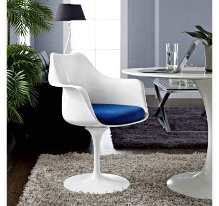 Tulip Armchair With Fabric Seat - Blue