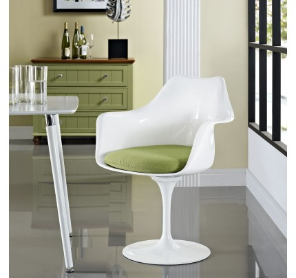Tulip Armchair With Fabric Seat - Green