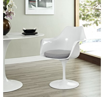 Tulip Armchair With Fabric Seat - Gray