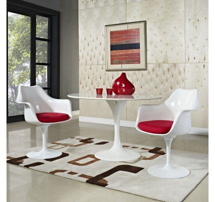 Tulip Armchair With Fabric Seat - Red
