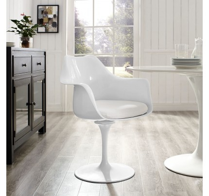 Tulip Armchair With Fabric Seat - White