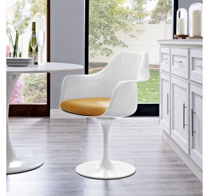 Tulip Armchair With Fabric Seat - Yellow