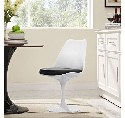 Tulip Dining Chair With Vinyl Seat - Black