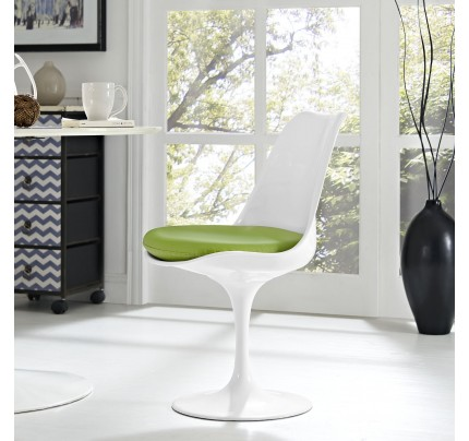 Tulip Dining Chair With Vinyl Seat - Green