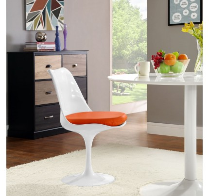 Tulip Dining Chair With Vinyl Seat - Orange