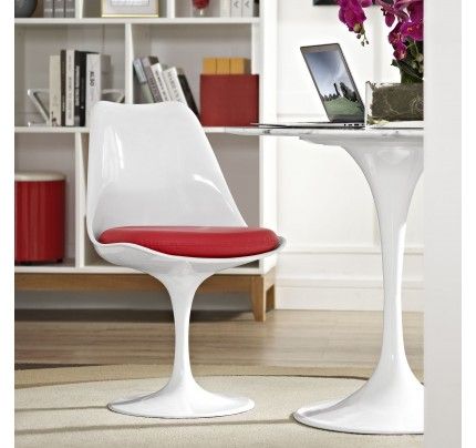 Tulip Dining Chair With Vinyl Seat - Red