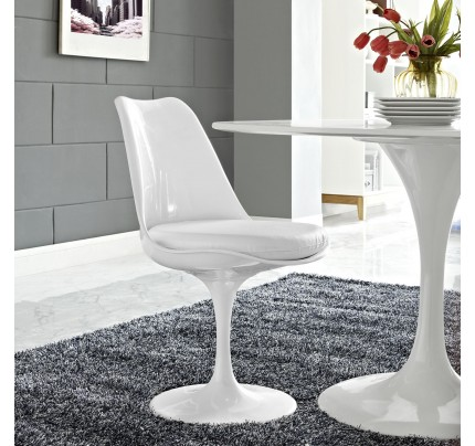Tulip Dining Chair With Vinyl Seat - White