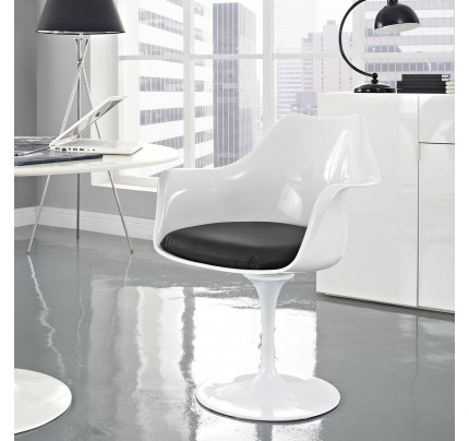 Tulip Armchair With Vinyl Seat - Black