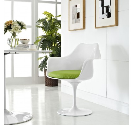 Tulip Armchair With Vinyl Seat - Green