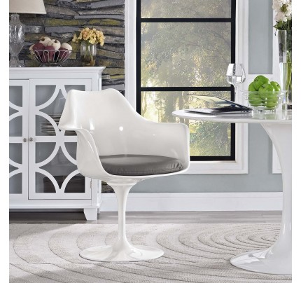Tulip Armchair With Vinyl Seat - Gray
