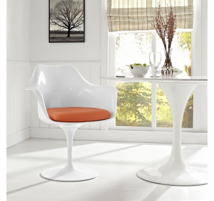 Tulip Armchair With Vinyl Seat - Orange
