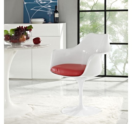 Tulip Armchair With Vinyl Seat - Red