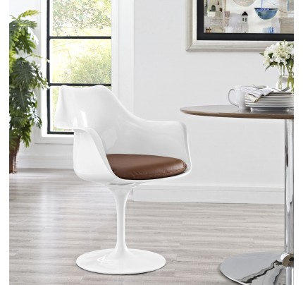 Tulip Armchair With Vinyl Seat - Tan