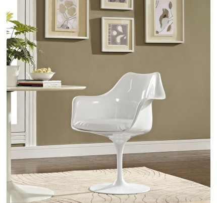 Tulip Armchair With Vinyl Seat - White