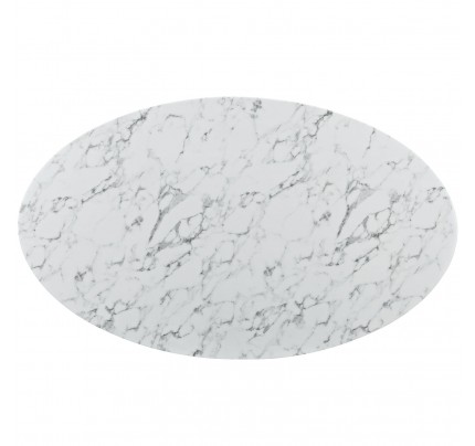 """Tulip 78"""" Oval Marble Dining Table"""