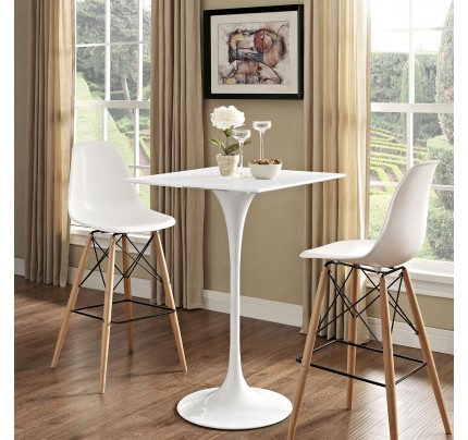 """Tulip 28"""" Square Wood Top Bar Table"""