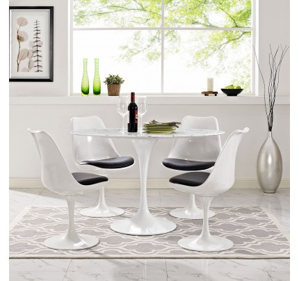 """Tulip 48"""" Oval Marble Dining Table"""