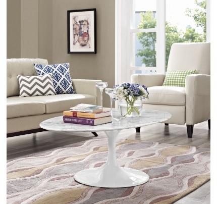 "Tulip 48"" Oval-Shaped Marble Coffee Table"