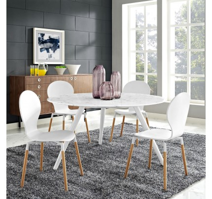 "Tulip 54"" Round Marble Dining Table with Tripod Base"