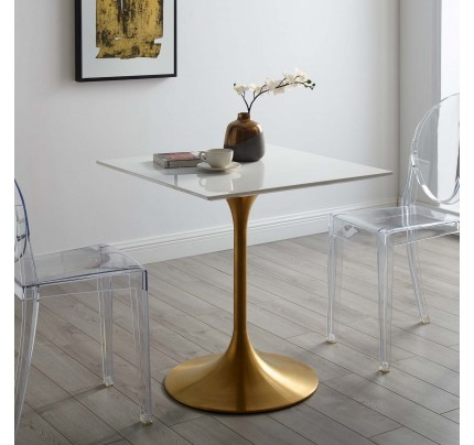"""Tulip 28"""" Square Wood Top Dining Table"""