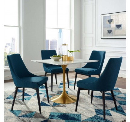"""Tulip 36"""" Square Wood Top Dining Table With Gold Base"""