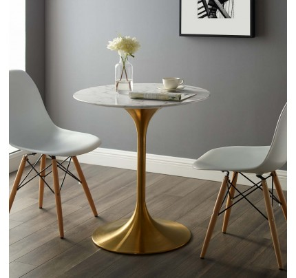 "Tulip 28"" Round Marble Dining Table With Gold Base"