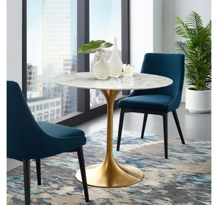 "Tulip 36"" Round Marble Dining Table With Gold Base"