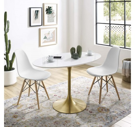 "Tulip 48"" Oval Wood Dining Table With Gold Base"