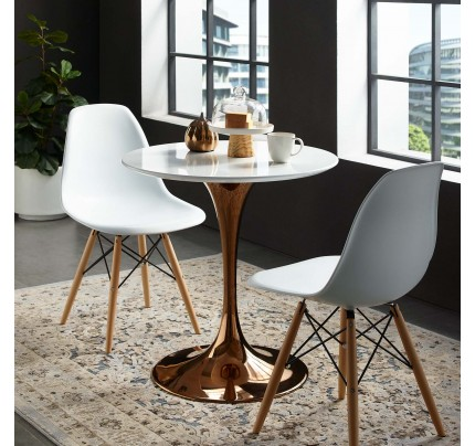"""Tulip 28"""" Round Wood Top Dining Table With Copper Base"""