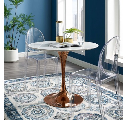 "Tulip 36"" Round Wood Dining Table With Copper Base"