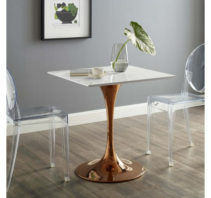 """Tulip 28"""" Square Wood Top Dining Table With Copper Base"""