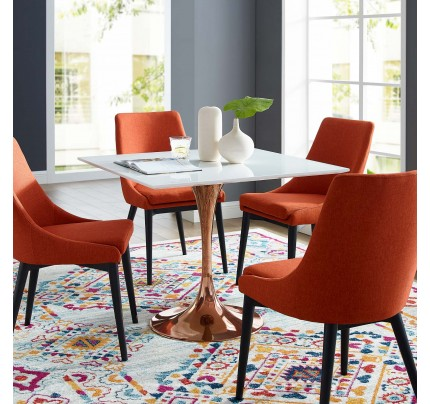 """Tulip 36"""" Square Wood Top Dining Table With Copper Base"""