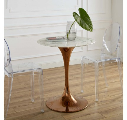 "Tulip 28"" Round Marble Dining Table With Copper Base"