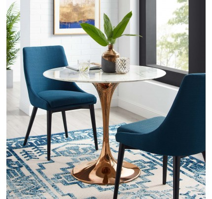 "Tulip 36"" Round Marble Dining Table With Copper Base"