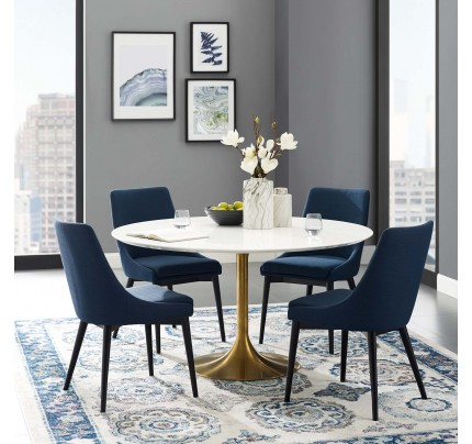 "Tulip 54"" Round Wood Dining Table With Gold Base"