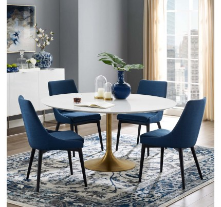 "Tulip 60"" Round Wood Dining Table With Gold Base"