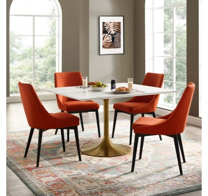 """Tulip 47"""" Square Wood Top Dining Table With Gold Base"""
